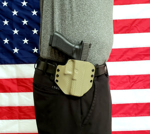 Sure-Fit O.W.B. Holster Tan Carbon (LEFT HAND) Gun Models A-R