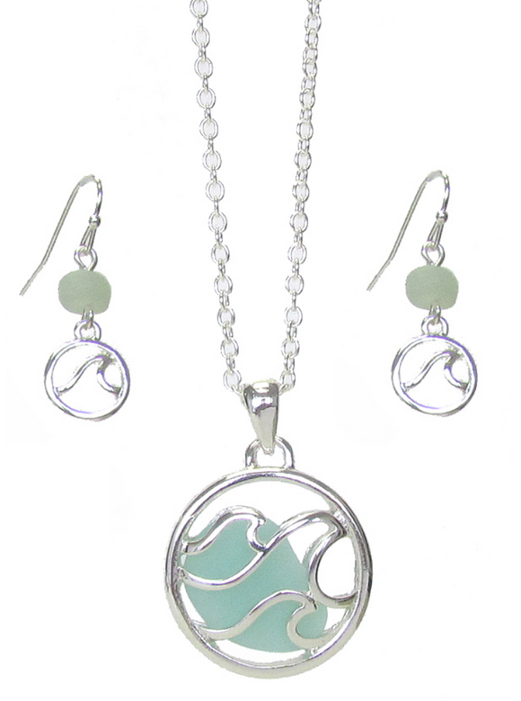 Sea Glass Wave Pendant/Earring Set - Shores of NJ LLC