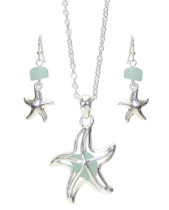 Sea Glass Starfish Pendant/Earrings Set - Shores of NJ LLC