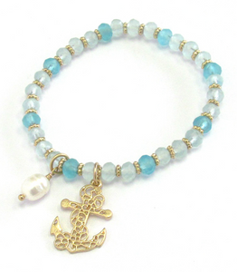 Beaded Anchor Bracelet - Shores of NJ LLC