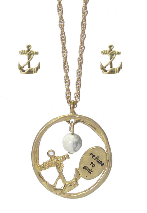 Refuse to Sink Pendant/Earring Set