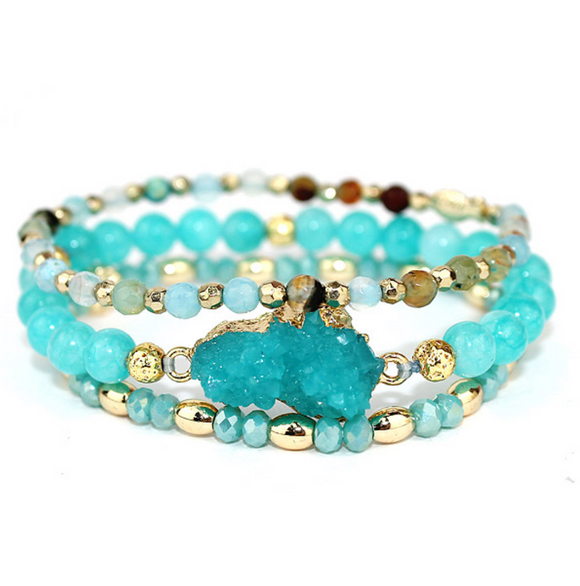 Turquoise/Gold Beaded Bracelet Set