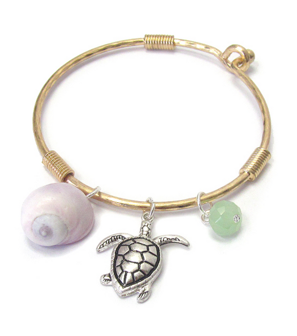 Turtle and Shell Bangle Bracelet - Shores of NJ LLC