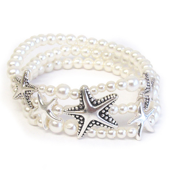 Starfish Pearl Stretch Bracelet - Shores of NJ LLC