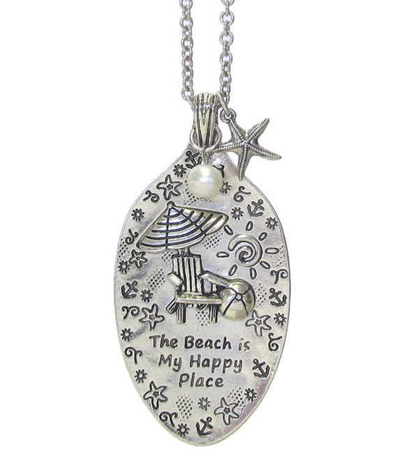 The Beach is my Happy Place Necklace - Shores of NJ LLC