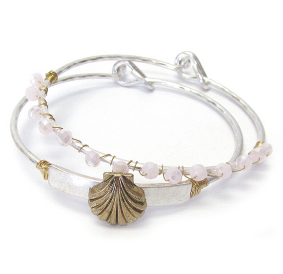 Shell Bangle Bracelet Set - Shores of NJ LLC