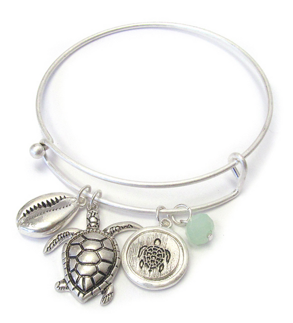 Turtle Charm Bangle Bracelet - Shores of NJ LLC