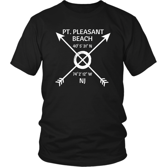 Pt. Pleasant Beach NJ Coordinates T-Shirt - Shores of NJ LLC