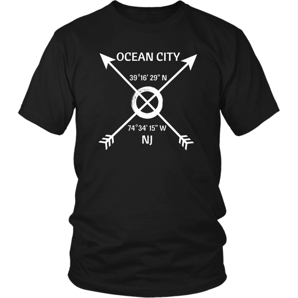 Ocean City NJ Coordinates T-Shirt - Shores of NJ LLC