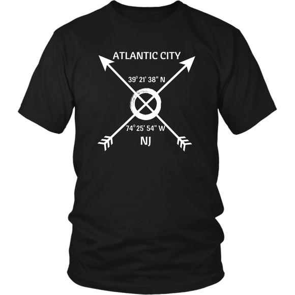 Atlantic City NJ Coordinates T-Shirt - Shores of NJ LLC