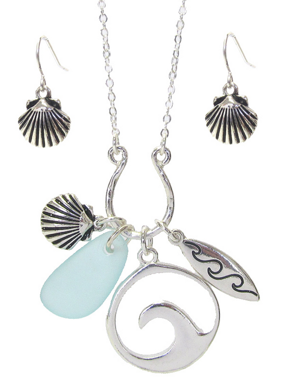 Seashell Charm Pendant/Earrings Set - Shores of NJ LLC