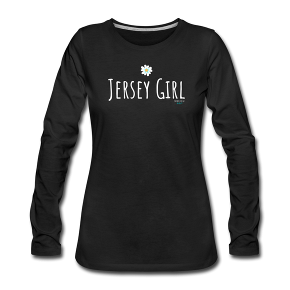 Jersey Girl Flower Long Sleeve T-Shirt - black