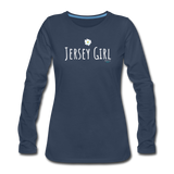 Jersey Girl Flower Long Sleeve T-Shirt - navy