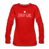 Jersey Girl Flower Long Sleeve T-Shirt - red