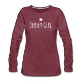 Jersey Girl Flower Long Sleeve T-Shirt - heather burgundy