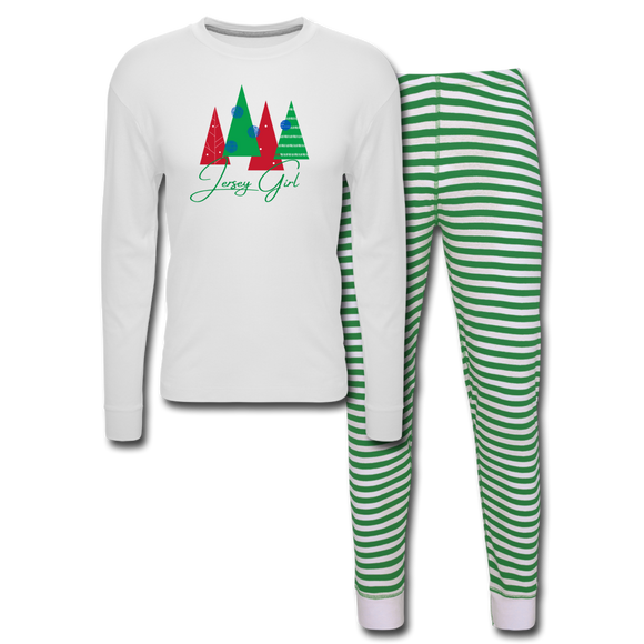 Jersey Girl Holiday Pajamas - Green - white/green stripe