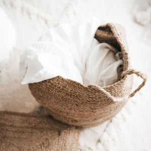 jute basket with clothes