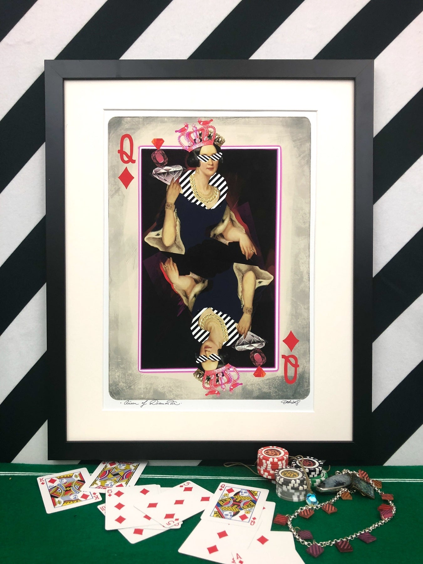 Framed print of the queen of diamonds playing card