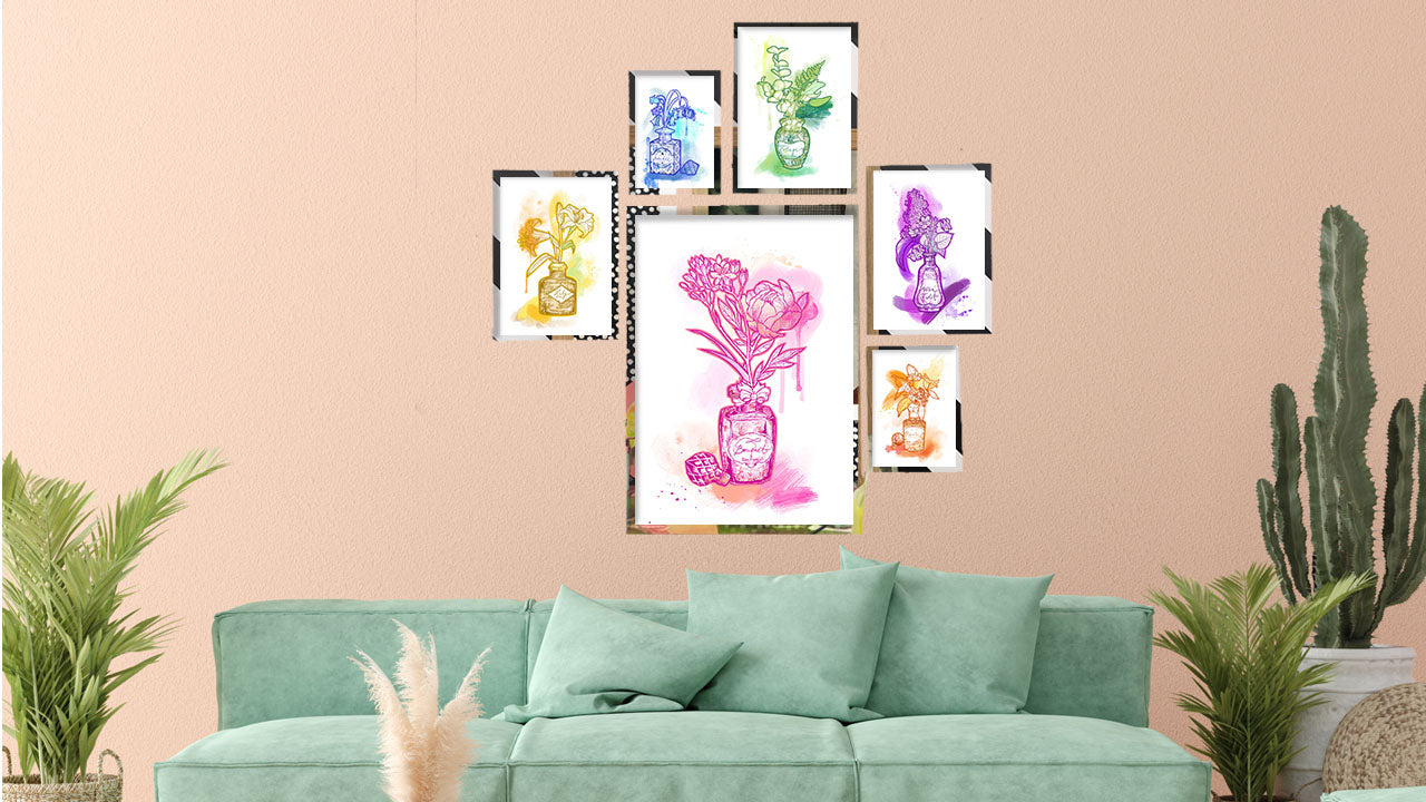 Perfume bottle wall art