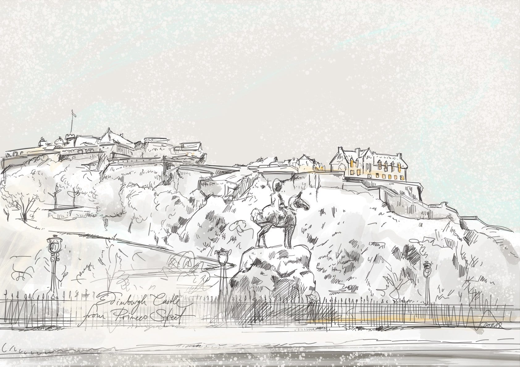 Edinburgh Castle In The Snow Matte Art Print