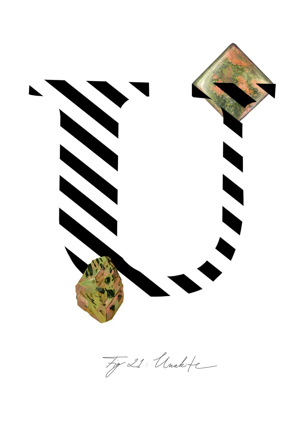 Greeting Card featuring the letter U and the gemstone Unakite.