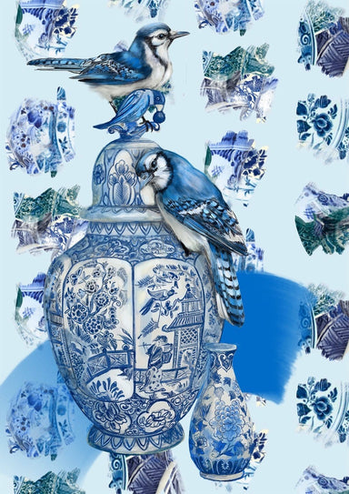 Delft Daft - Jays On A Jar Matte Art Print