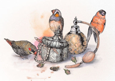 This image contains Illustration,Bird,European robin,Drawing,Watercolor paint,Still life