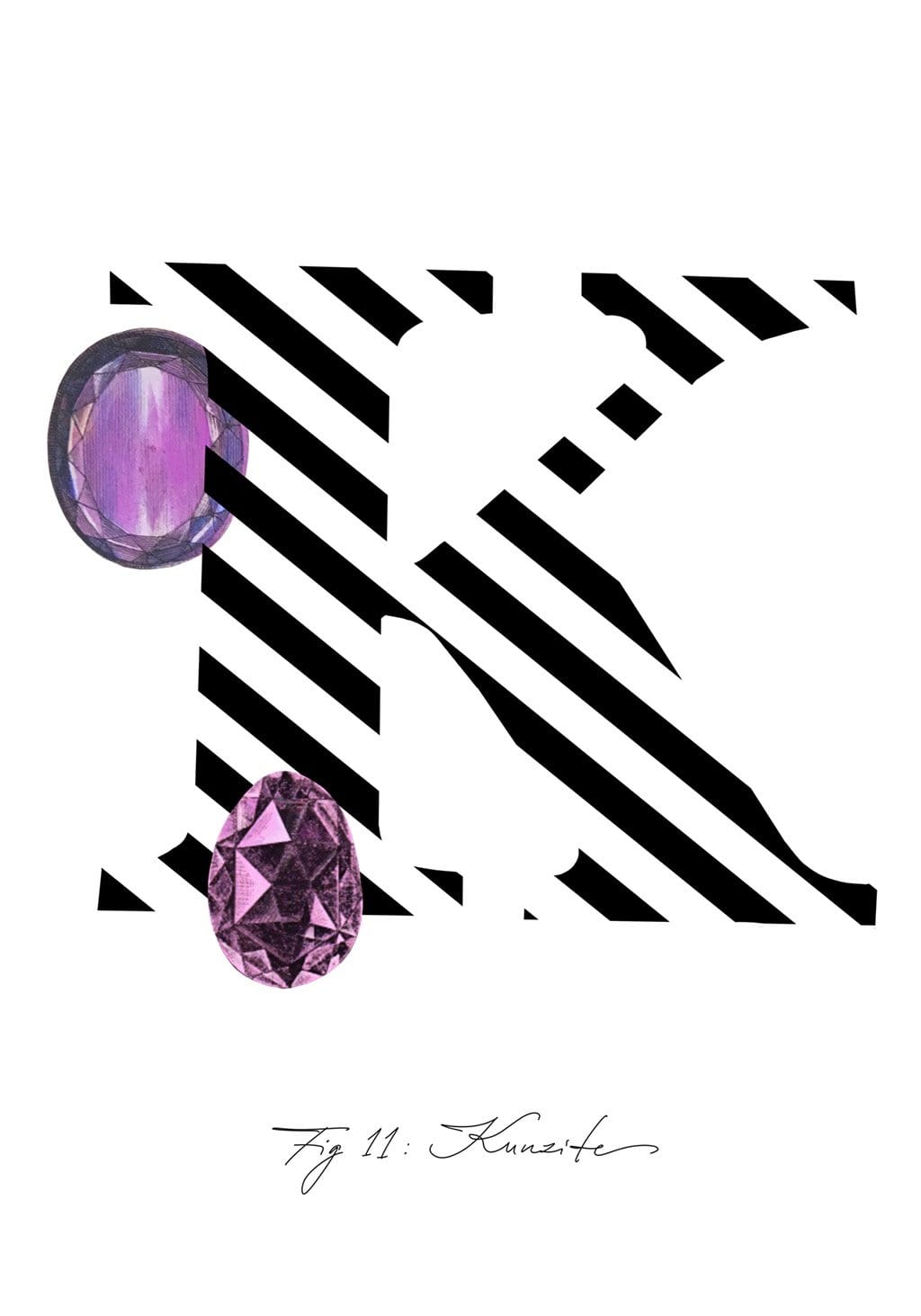 Greeting Card featuring the letter K and the gemstone Kunzite.