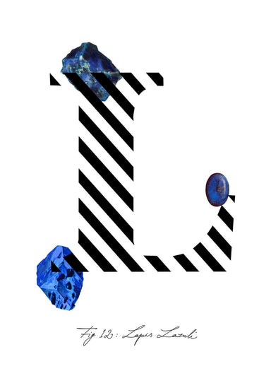 Greeting Card featuring the letter L and the gemstone Lapis Lazuli.