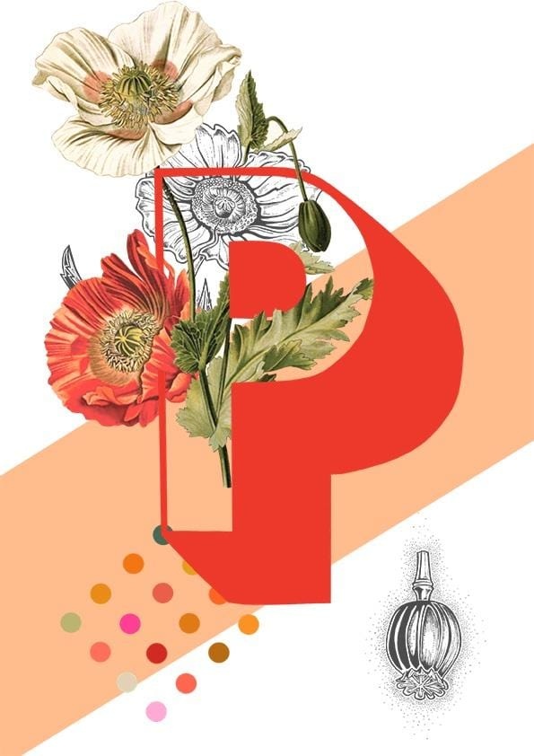Card featuring the letter P