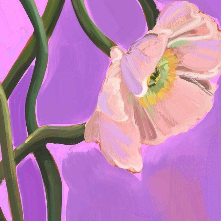 Painterly Poppies Lilac Giclée Art Print