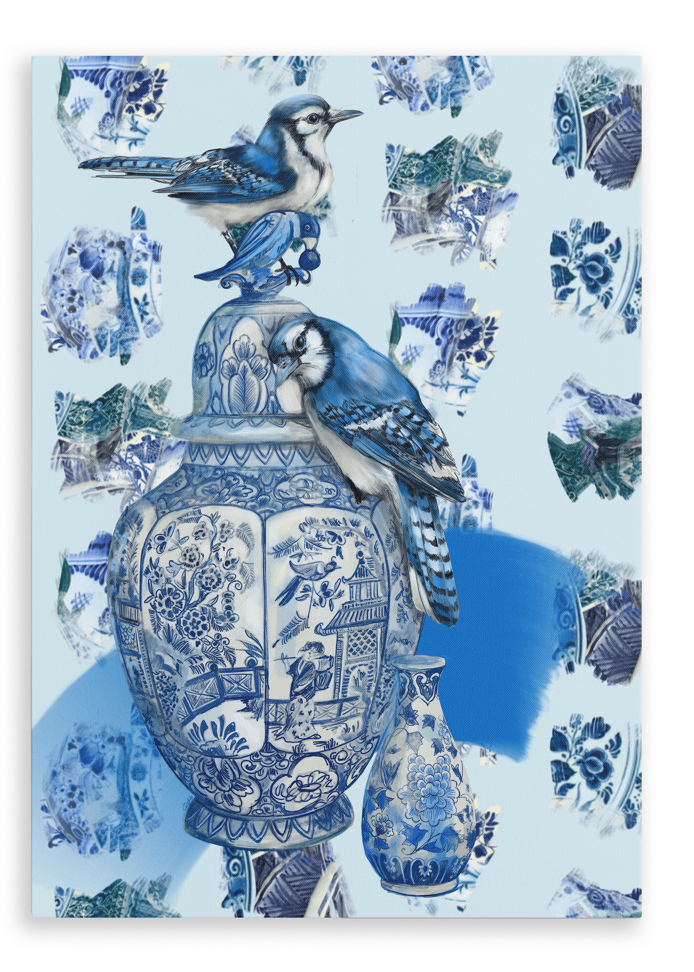 Delft Daft - Jays On A Jar Canvas Print