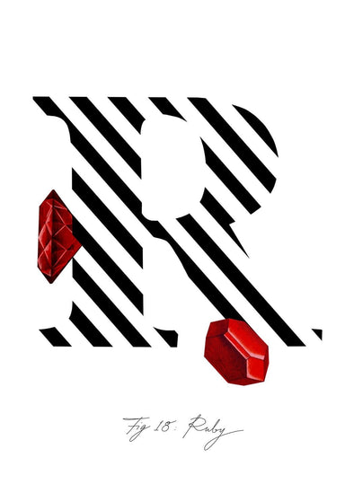 Greeting Card featuring the letter R and the gemstone Ruby.
