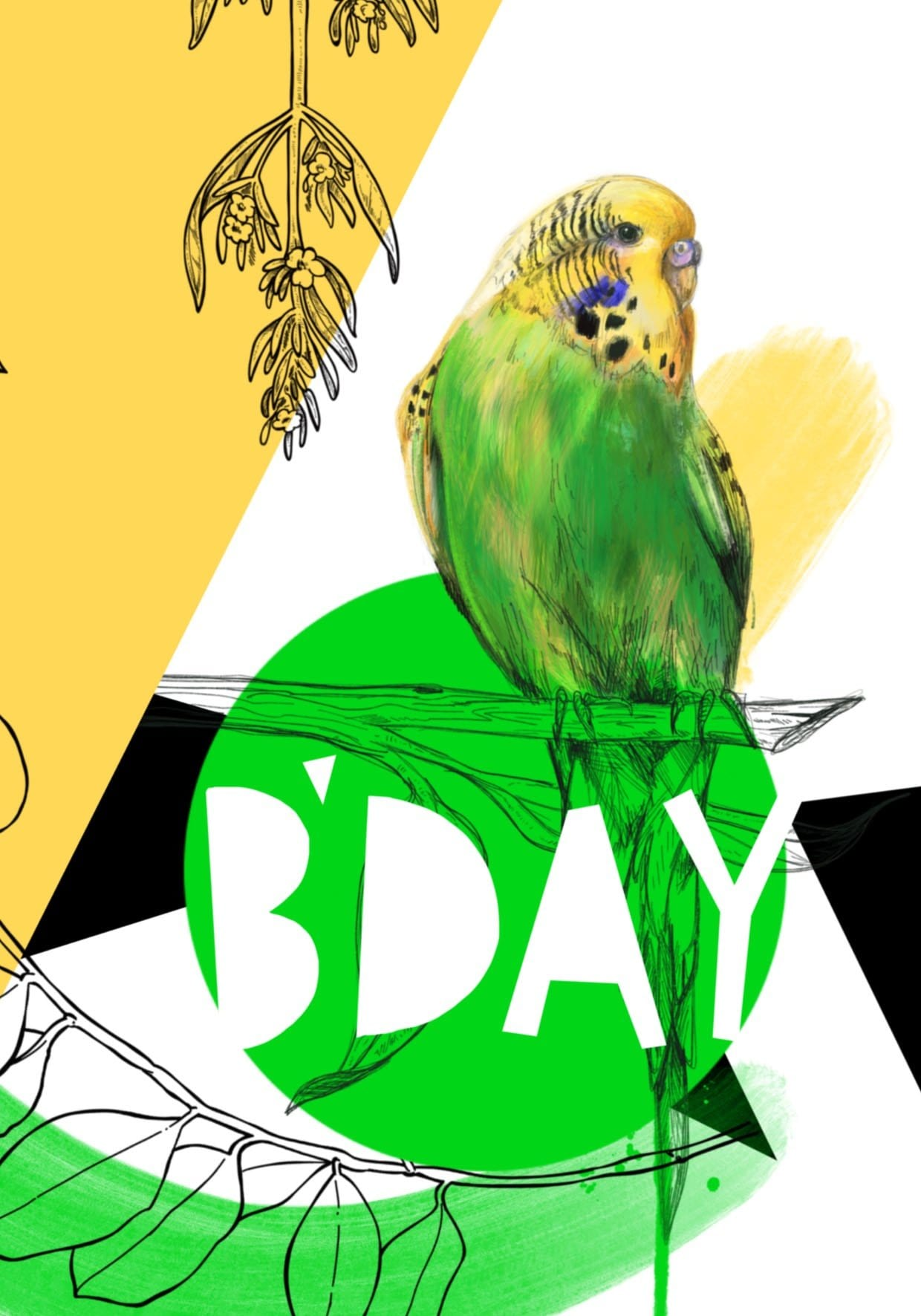 Budgie B'day Greeting Card