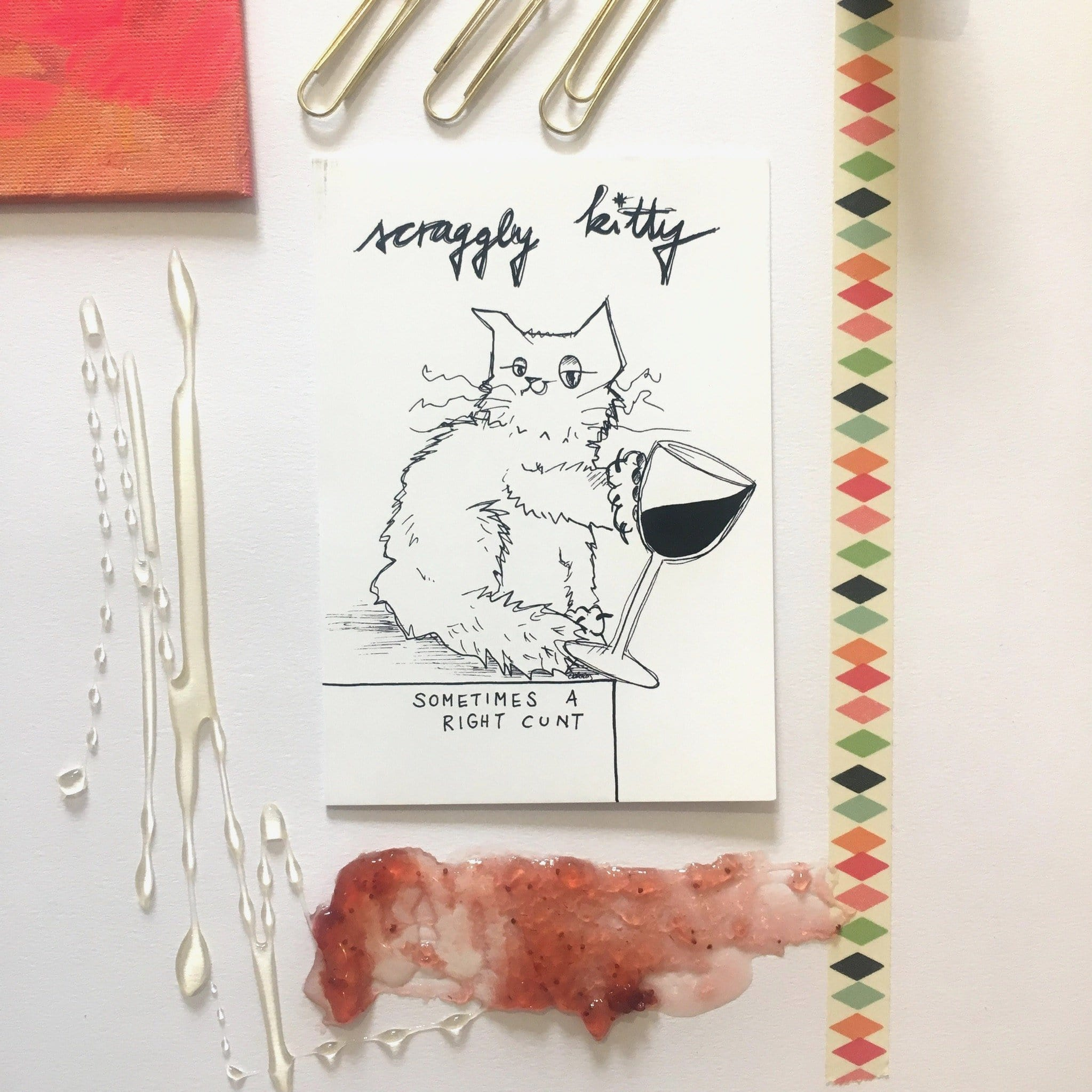 Scraggly Kitty Sometimes A Right... Greeting Card