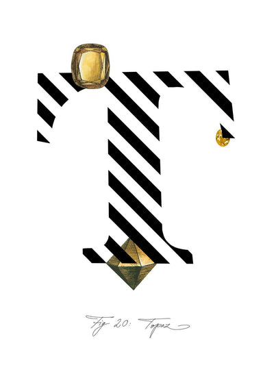 Greeting Card featuring the letter T and the gemstone Topaz.