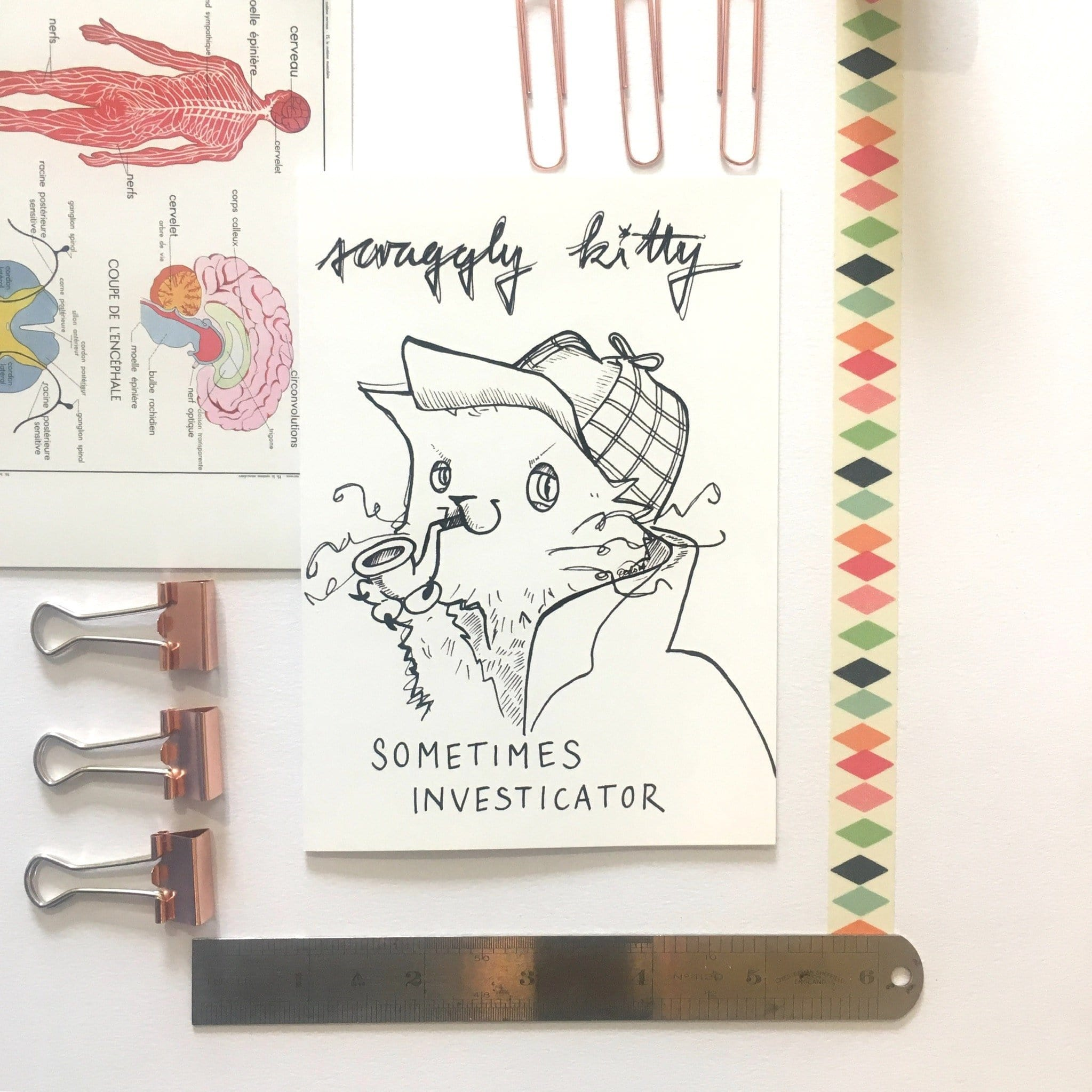 Scraggly Kitty Sometimes Investicator Greeting Card