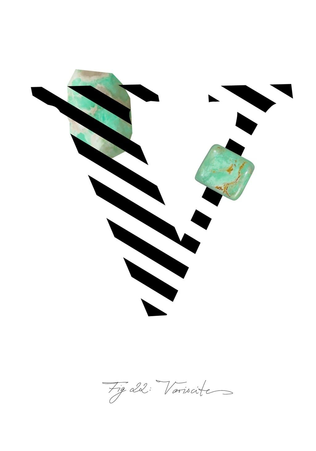 Greeting Card featuring the letter V and the gemstone Variscite.