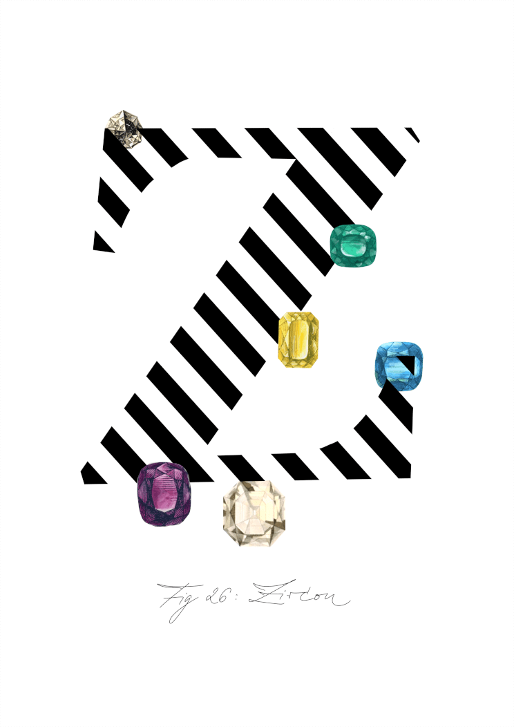 Gemstone Alphabet Z Matte Art Print
