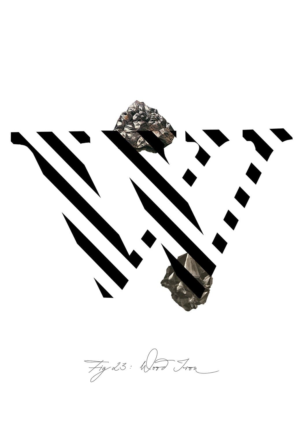 Greeting Card featuring the letter W and the gemstone Wood Iron.
