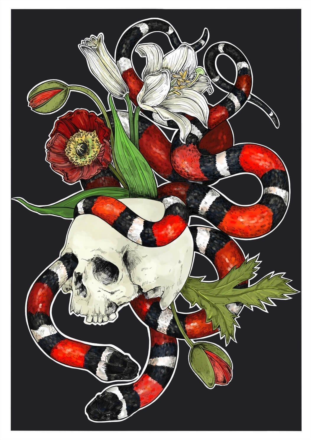 Snakes Of Creation - Death Matte Art Print