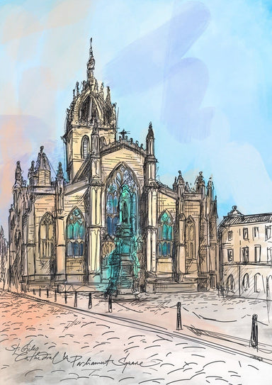 St Giles Cathedral & Parliament Square Matte Art Print