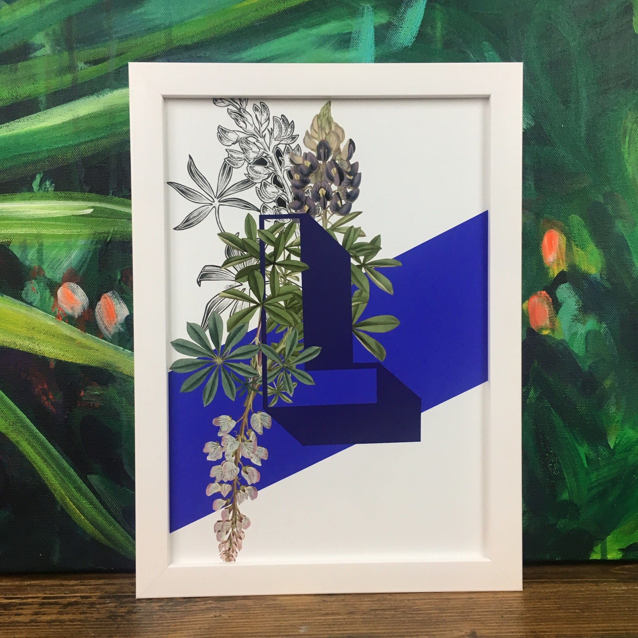 This image contains Green,Majorelle blue,Painting,Picture frame,Botany,Leaf