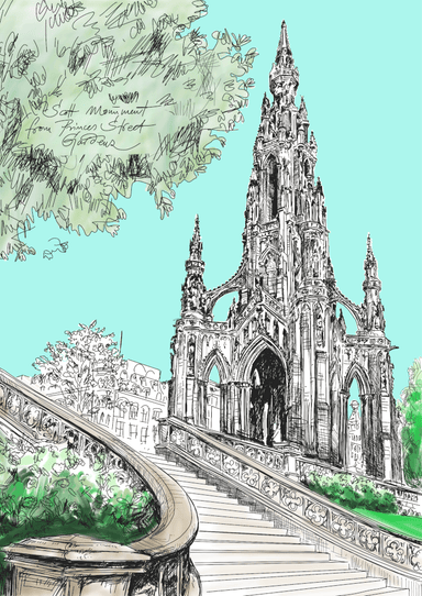 Scott Monument Edinburgh Matte Art Print