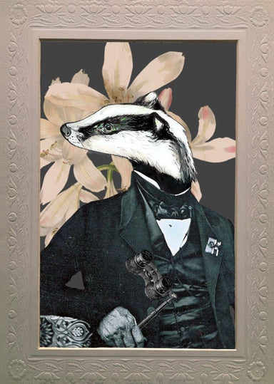 Badger In A Suit Matte Art Print
