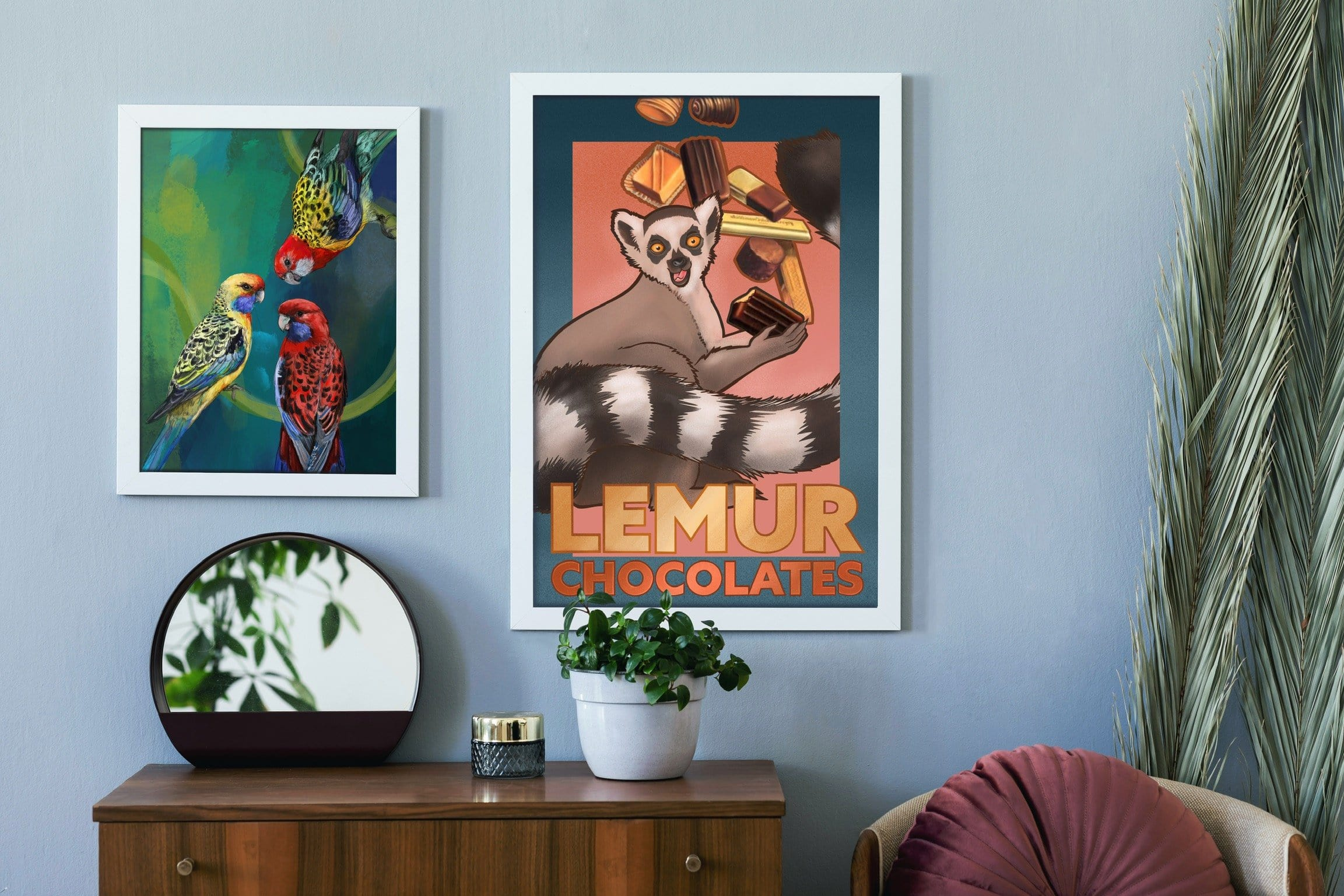 Lemur Chocolate Giclée Framed Print