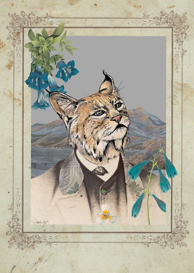 Bobcat In A Suit Matte Art Print