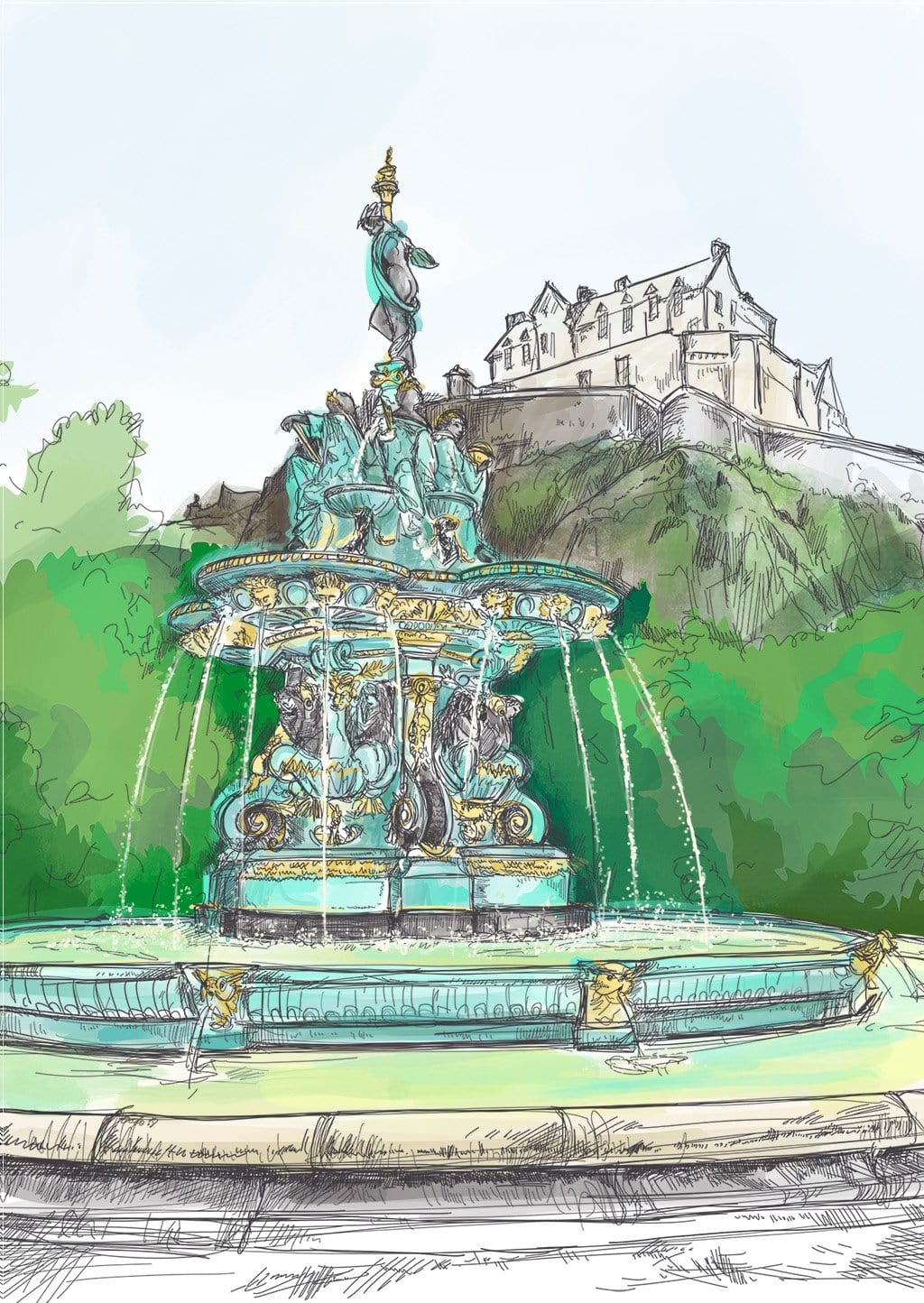 Ross Fountain Edinburgh Greeting Card