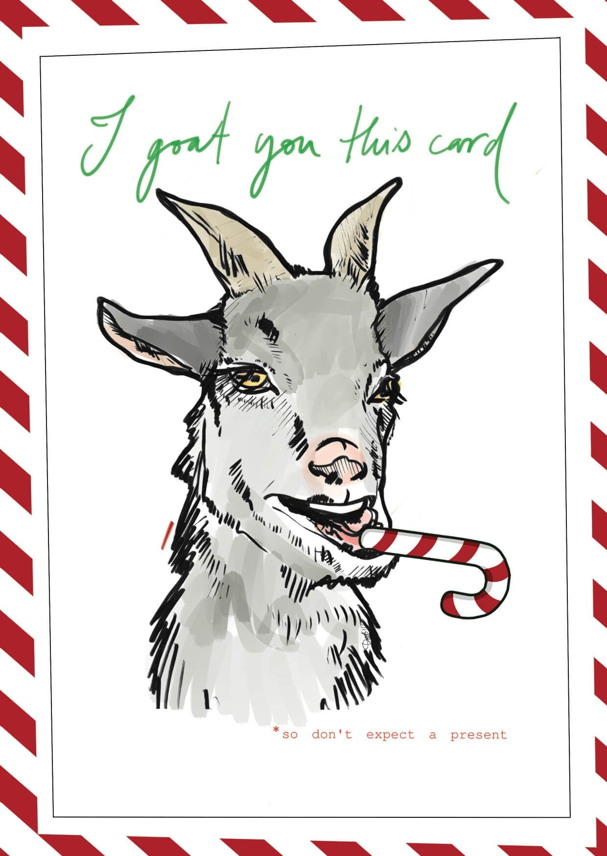 This image is of a card which features a goat with a candy cane.