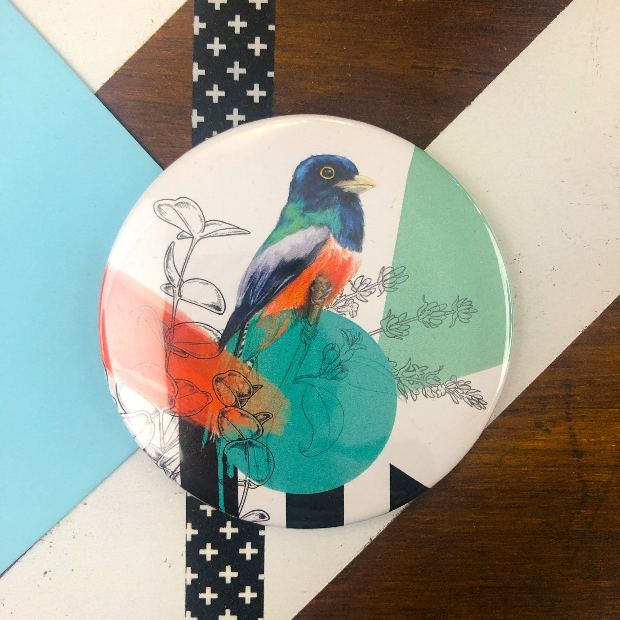 Teal Bird Pocket Mirror